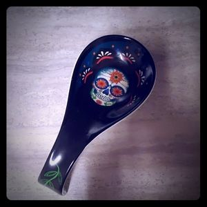 Sugarskull day of the dead porcelain spoon rest